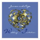 Blue and Gold Heart Wedding Fine Art Personalized Invite