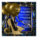 Blue and Gold High Heels Birthday Party Custom Invitations