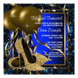Blue and Gold High Heels Womans Birthday Party Custom Invitations