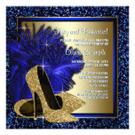 Blue and Gold High Heels Womans Birthday Party Personalized Announcement