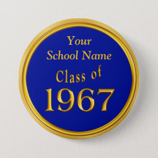 Blue and Gold High School Reunion Favors Ideas 7.5 Cm Round Badge