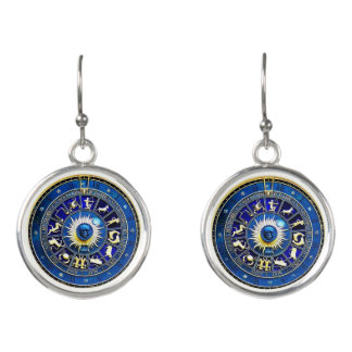 blue and gold horoscope drop earrings