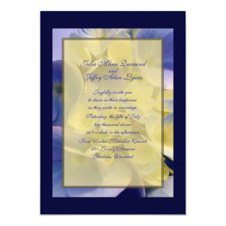 Blue and Gold Hydrangea Wedding 5x7 Paper Invitation Card