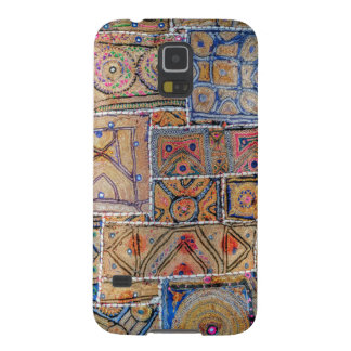 Blue and Gold Infused Tapestry Quilt Phone Design Cases For Galaxy S5