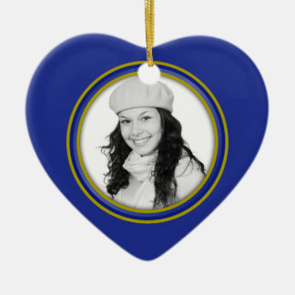 Blue and Gold Keepsake Photo Ornament for Graduate
