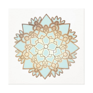 Blue and Gold Lotus Canvas Print
