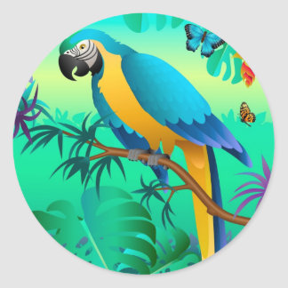 blue and gold macaw in the Amazon Sticker