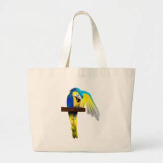 Blue and Gold Macaw Parrot Print Jumbo Tote Bag