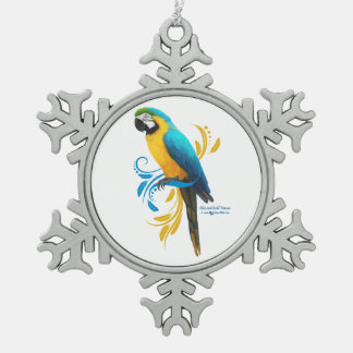 Blue and Gold Macaw Snowflake Ornament