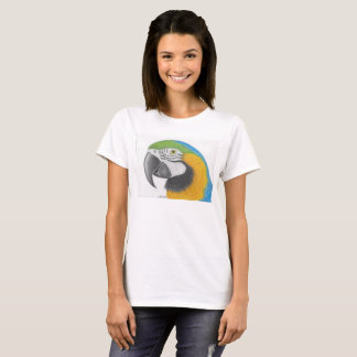 blue and gold macaw womens tshirt