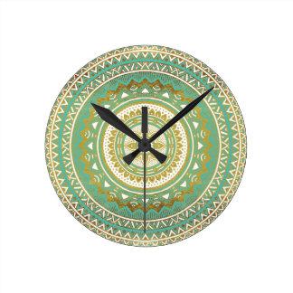 Blue and gold madala round clock