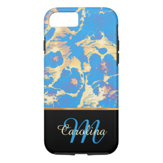 Blue and Gold Marble, Black,  Name and Monogram iPhone 8/7 Case