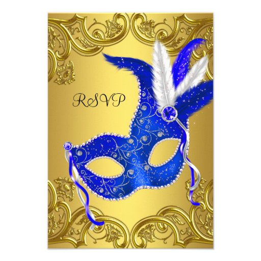 Blue and Gold Masquerade Party RSVP Invites