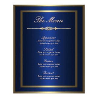 Blue and Gold Menu Card