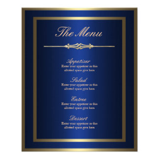 Blue and Gold Menu Card 11.5 Cm X 14 Cm Flyer
