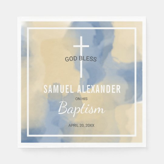 Blue and Gold Modern Watercolor Baby Boy Baptism