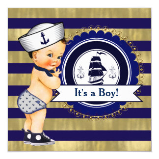 Blue and Gold Nautical Baby Shower Card