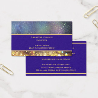 Blue and Gold Outer Space Star Clusters Business Card