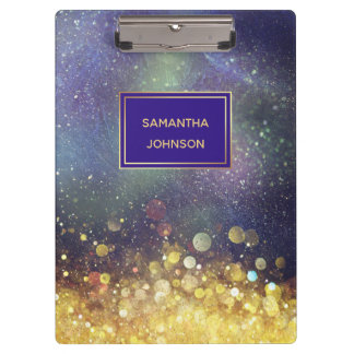 Blue and Gold Outer Space Star Clusters Clipboard