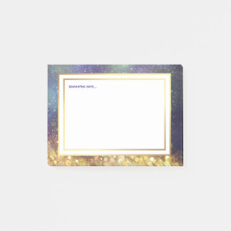 Blue and Gold Outer Space Star Clusters Post-it Notes
