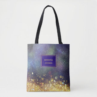 Blue and Gold Outer Space Star Clusters Tote Bag