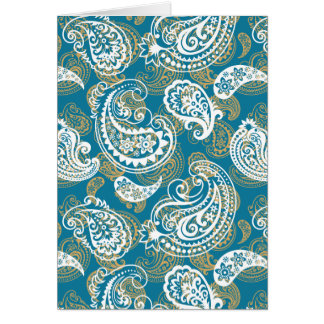 Blue and gold paisley pattern card