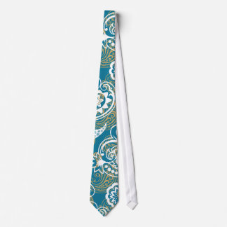 Blue and gold paisley pattern tie
