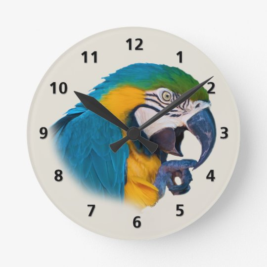 Blue and Gold Parrot Customisable Round Clock