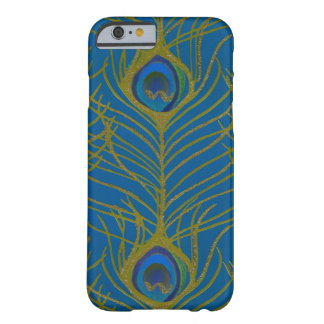Blue and Gold Peacock Feather Pattern Barely There iPhone 6 Case
