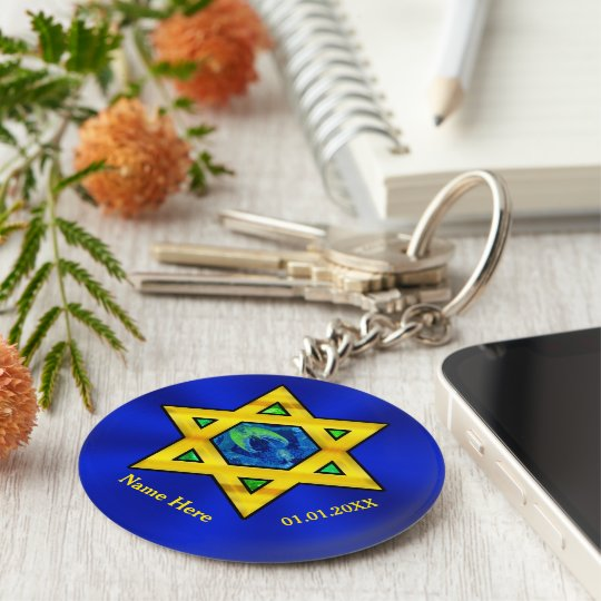 Blue and Gold Personalised Bar Mitzvah Favours Key