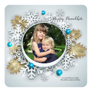Blue and Gold Photo Holiday Card