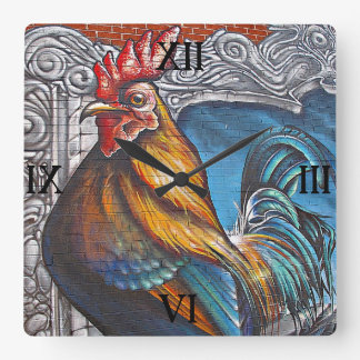 Blue and Gold Rooster Square Wall Clock