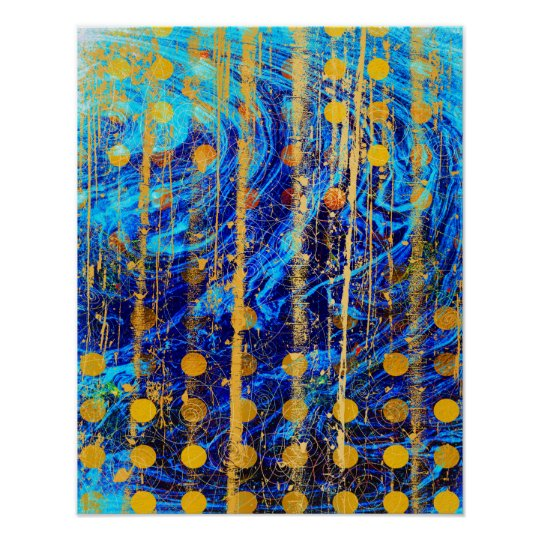 Blue and Gold Rustic Polka Dot Marble Grunge