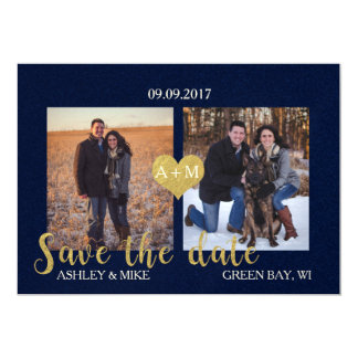Blue and Gold Save the Date Card
