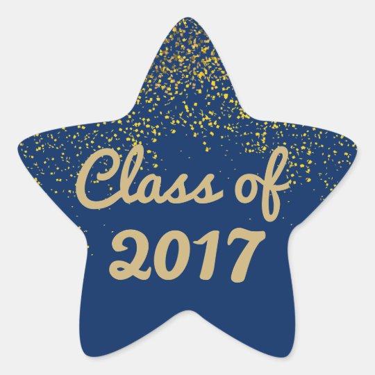 Blue and Gold Sparkle Graduation Star Sticker 2017