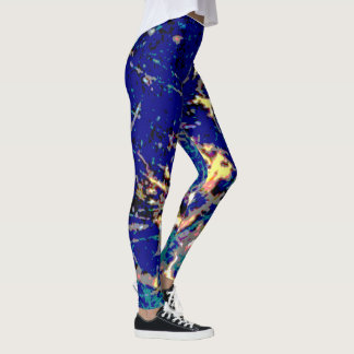 Blue and Gold Spotted and Slashed Leggings