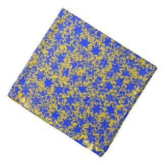 Blue and Gold Star Team Spirit Sports Colors Bandana