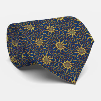 Blue and Gold Starburst Fractal Tie