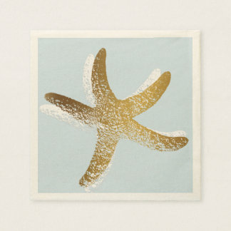 Blue and Gold Starfish Paper Napkin