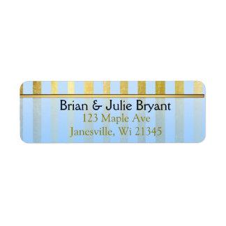 Blue and Gold Striped Return Address Label