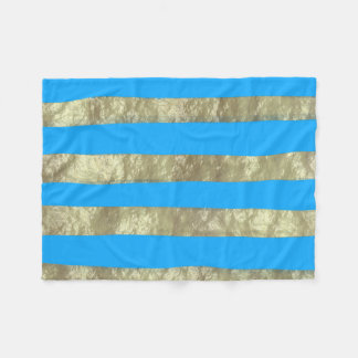 Blue and Gold Stripes Fleece Blanket