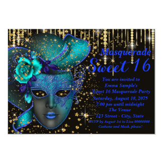 Blue and Gold Sweet 16 Masquerade Party 5x7 Paper Invitation Card