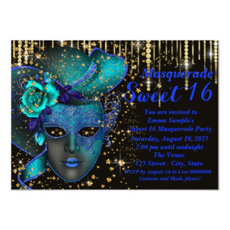 Blue and Gold Sweet Sixteen Masquerade Party 4.5x6.25 Paper Invitation Card