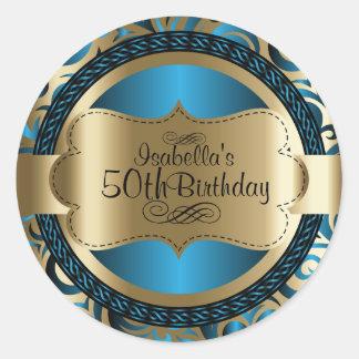 Blue and Gold Swirl Abstract Birthday Round Sticker