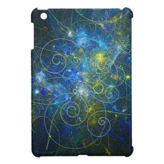 Blue and Gold Swirly Fractal iPad Mini Covers