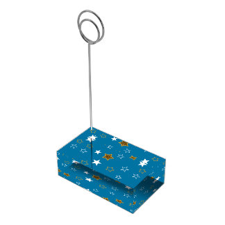 Blue and Gold Table Number Card Holder for Wedding