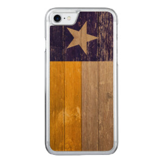 Blue and Gold Texas Flag Painted Old Wood Carved iPhone 7 Case