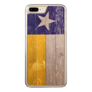 Blue and Gold Texas Flag Painted Old Wood Carved iPhone 8 Plus/7 Plus Case