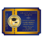 Blue and Gold Ticket Graduation Party 13 Cm X 18 Cm Invitation Card