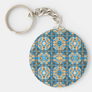 Blue and gold tiles keychains